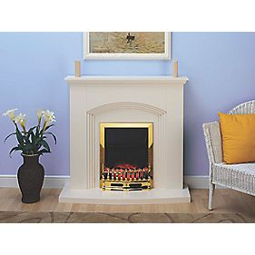 Wintherbrowne Helmsley Traditional Electric Fire & Surround Brass Eff/Cream