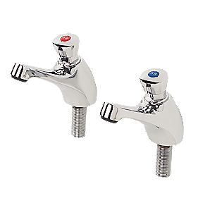H&C Non-Concussive Bathroom Basin Taps Pair ½""