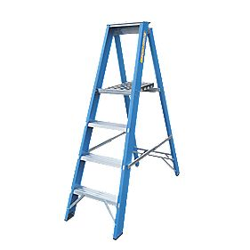 Lyte Heavy Duty Fibreglass Platform Ladder 4-Tread 1.4m