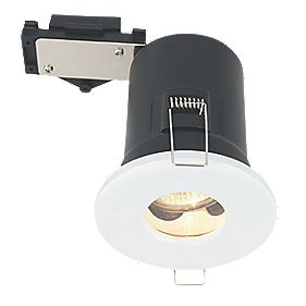 LAP Round Mains Voltage Fire Rated Downlight IP44 Gloss White 240V