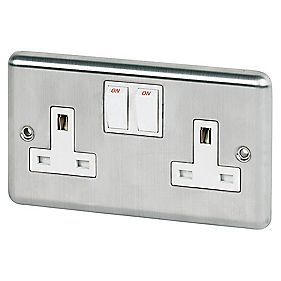 2-Gang DP Switched Socket Stainless Steel Round Edge White Inserts Pk5