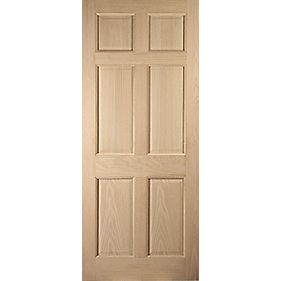 Jeld-Wen Colonial 6-Panel Exterior Door Oak Veneer Universal Application (Non-Handed) White Oak Veneer 813 x 2032mm