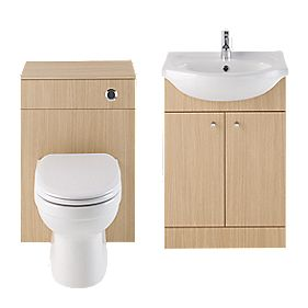 Vanity Bathroom Basin & Toilet Unit Natural Oak 1030mm