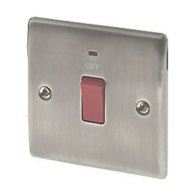 British General 45A 1-Gang DP Cooker Switch with Neon Brushed Iridium