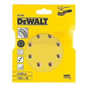 DeWalt 125mm 120 Grit Sanding Discs Punched Pack of 10