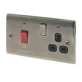 British General 45A DP Cooker Switch/13A Socket with LED Brushed Iridium