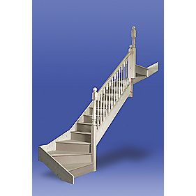 Unbranded Stairways Chamfered Bottom Double Winder Staircase RH Unfinished