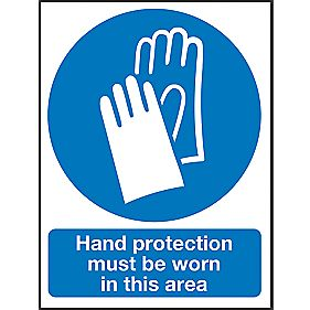 """Hand Protection Must Be Worn In This Area"" Sign 200 x 150mm"