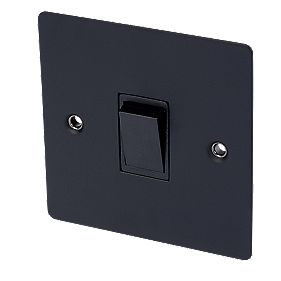 Volex 10AX Intermediate Switch Blk Ins Matt Black Flat Plate