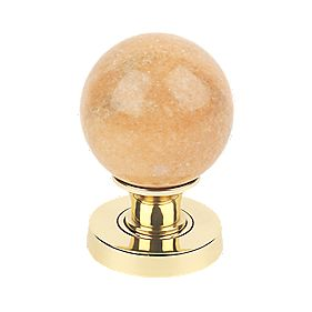 Jedo Marble Ball Glass Mortice Knob Pair Polished Brass 55mm