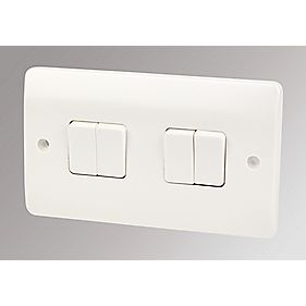 MK Logic Plus 4-Gang 2-Way 10AX Light Switch White