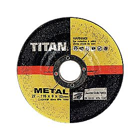 Titan Metal Grinding Discs 115 x 6 x 22mm Pack of 10