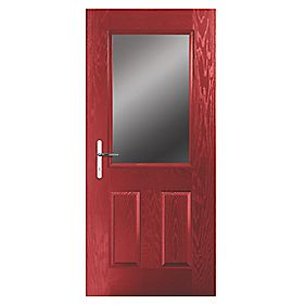 Portico Lytham Composite Front Door Clear Glass Red RH 840 x 2055mm