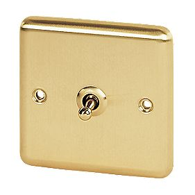Volex 1-Gang 2-Way Toggle Switch Brushed Brass Round Edge