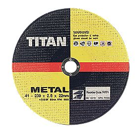 Titan Metal Cutting Disc 230 x 2.5 x 22mm Pack of 5