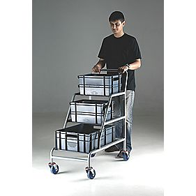 Angled Container Trolley with 3 x Euro Containers