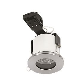 Sylvania Fixed Round Mains Volt. Fire Rated Downlight Brushed Steel 240V