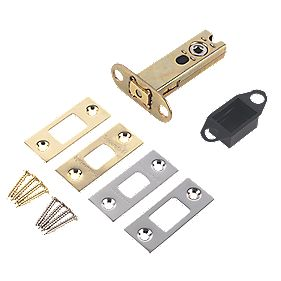 Securefast Tubular Mortice Latch Brass & Satin Chrome 92mm