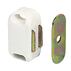 Magnetic Cabinet Catches White 42mm