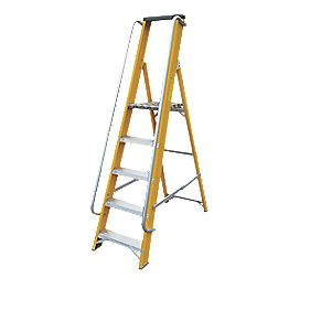 Lyte Platform Ladder with Safety Handrails Aluminium Alloy 5 Treads 1.67m