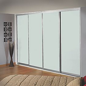 Sliding Wardrobe Doors Silver Frame White Glass Panel 4-Door 2943 x 2330mm