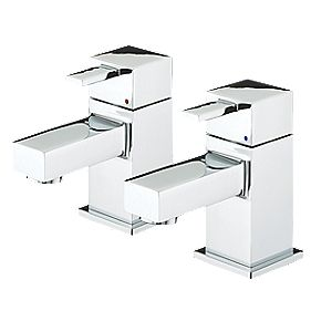 Bristan Quadrato Basin Pillar Taps Pair