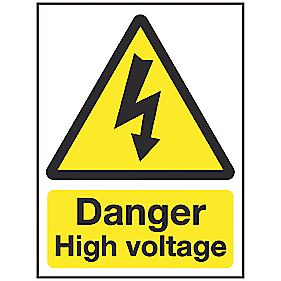 "Electrical Safety ""Danger High Voltage"" Sign 200 x 150mm"