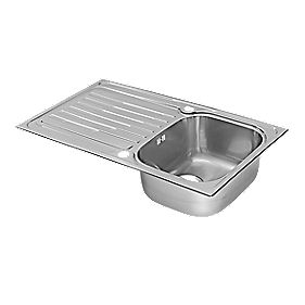 Pyramis Coventry Kitchen Sink Stainless Steel 1 Bowl Reversible Drainer 860 x 500mm