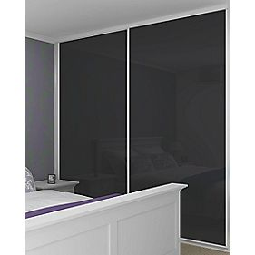 Sliding Wardrobe Doors White Frame Black Glass Panel 2-Door 1485 x 2330mm