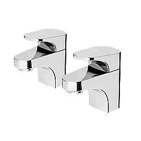 Bristan Curve Bathroom Basin Taps Pair