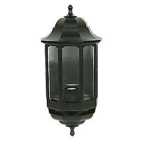 ASD 60W Black Half Lantern Wall Light