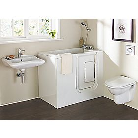 Petite Bathroom Suite with Acrylic Walk-In Bath for Elderly & Disabled RH