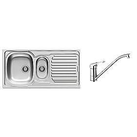 Pyramis 1½ Bowl Kitchen Sink w/ Tap & Drainer Stainless Steel 1000 x 500mm