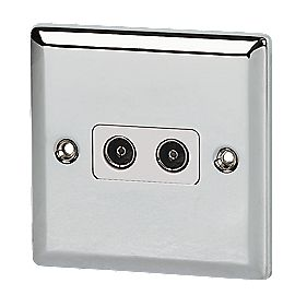 Volex Twin Co-ax TV Socket Wht Ins PC Angled