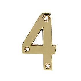 Door Numeral 4 Polished Brass Effect