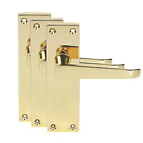 Victorian Short Backplate Straight Door Handles Polished Brass Eff. Pk3