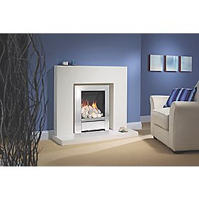 "Be Modern 44"" Lauren White Marble Surround, Back Panel, Hearth & Gas Fire"