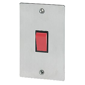Volex 45A DP Switch Blk Ins Brushed Stainless Flat Plate