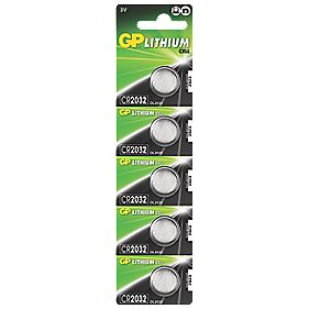 GP Batteries Lithium Coin Cell Batteries 2032 Pack of 5
