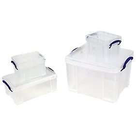Really Useful Box Large Storage Boxes 4 Piece Set 315 x 390 x 413mm
