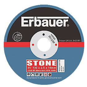 Erbauer Stone Cutting Discs 100 x 2.5 x 16mm Pack of 5