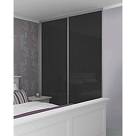 Sliding Wardrobe Doors Silver Frame Black Glass Panel 2-Door 1485 x 2330mm