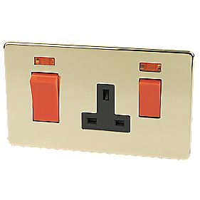 Crabtree 45A DP Switch /13A Socket +Neon Pol Brss Flt Plt