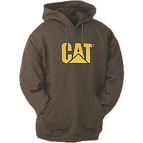 "CAT Trademark Hooded Sweatshirt Hooded Sweatshirt Dark Earth Large "" Chest"