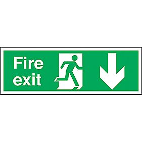 """Fire Exit"" Down Arrow Sign 150 x 450mm"