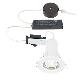 LAP Fixed Round Low Voltage F-Rated Downlight Pre-Wired Kit Gloss White 12V
