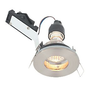 LAP Fixed Round Mains Voltage Bathroom Downlight Brushed Chrome Effect 240V