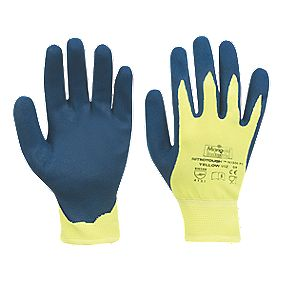 Marigold Industrial Nitrotough N1500 Nitrile-Dipped Gloves Blue/Yellow Large