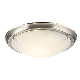 Temple Flush Ceiling Light Brushed Nickel 60W