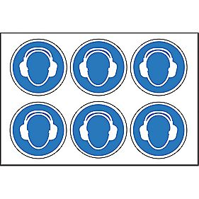 Wear Ear Protectors Symbol Adhesive Labels 100mm Pack of 30
